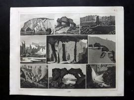 Heck 1849 Antique Print. Natural Wonders - Giant's Courseway, Waterfalls etc